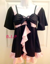 New GOLD INFINITY Gyaru Pink Black Fit and Flare Party Clubwear Blouse Dolly Top - $143.00