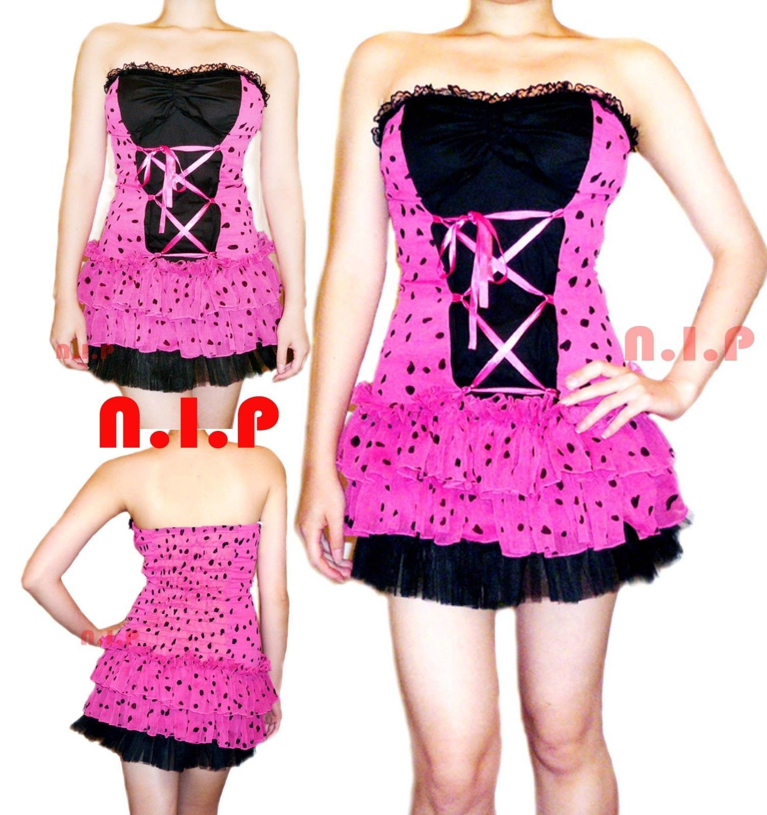 Primary image for Party Polka Dot Lace up Tulle Dress Pin Up Hot Topic Punk Goth Club Rockabilly