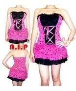 Party Polka Dot Lace up Tulle Dress Pin Up Hot Topic Punk Goth Club Rock... - £77.52 GBP