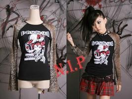 Punk Leopard Graphic T-shirt Top Visual Kei Goth Cyber Club wear Jrock S... - $119.00