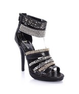 Rhinestone Gem Caged Straps Gladiator Metallic Platform Party Heels Sand... - $130.00