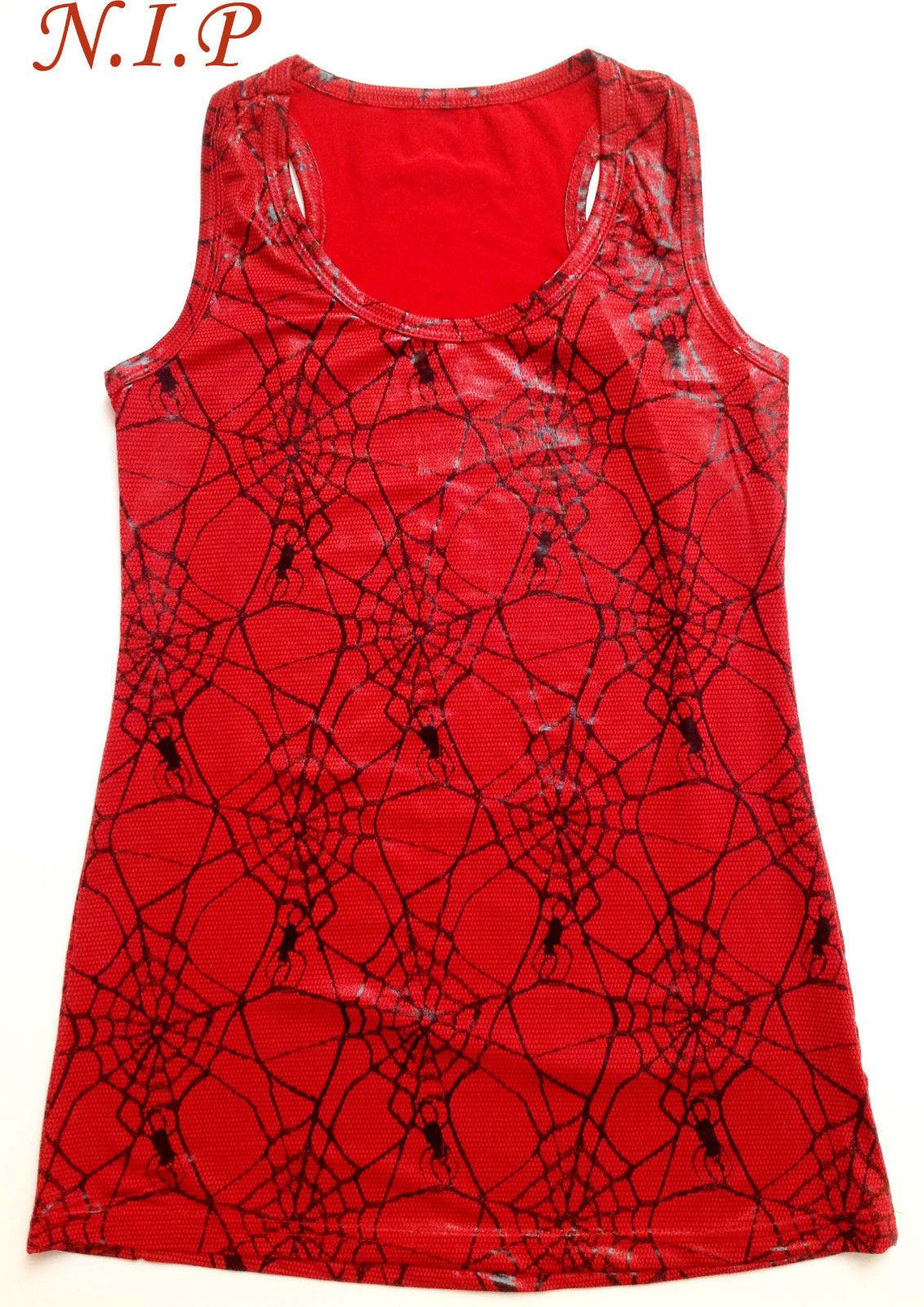 Red Spider Web Goth Punk Visual Kei Cyber Club wear Hot Topic Halloween Tank Top - $91.00