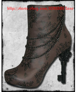 Too Fast Goth Punk Victorian Chains Floral lace Key Steampunk Heels Pump... - $220.00