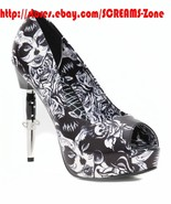 Too Fast Tattoo Spider Web Sugar Skull Platform Open Toes High Goth Heel... - $202.00