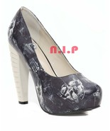 Too Fast Skeleton Skull X Ray Anatomy Spineless Platform High Heels Pump... - $202.00