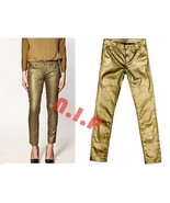 ZARA Metallic GOLD Stardust Shimmer Party Club wear Evening Skinny Jeans... - $207.00
