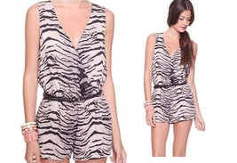 Zebra Low Cleavage Deep Cut V Neck Party Clubwear Street Forever21 Rompe... - $105.00