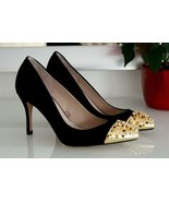 ZARA Gold Court Studded Spikes Gems Cap Toe PUMPS High HEELS Runway Part... - $247.00