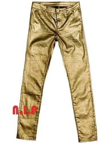 ZARA Metallic GOLD Stardust Shimmer Party Club wear Evening Skinny Jeans Pants