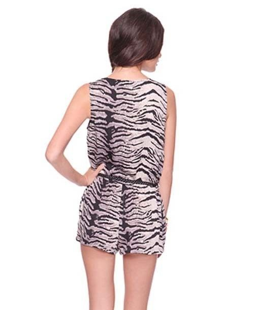 Zebra Low Cleavage Deep Cut V Neck Party Clubwear Street Forever21 Romper Jumper