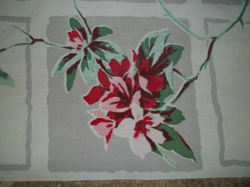 Primary image for Vintage Retro Mid Century Rhododendron 1950's Linen Tablecloth 51 x 54 MINT
