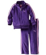 PUMA BABY GIRLS VELOUR 2 PC TRACKSUIT - JACKET & PANTS, PURPLE. SZ.12-18... - $21.99