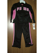 PUMA BABY GIRLS  2 PC TRACKSUIT- JACKET & PANTS, PINK/BLACK. SZ.12-18-24... - $24.99