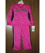 PUMA BABY GIRLS  2 PC TRACKSUIT- JACKET & PANTS, PINK/BLACK. SZ.12-18-24... - $25.99