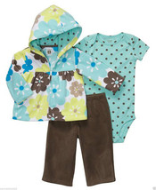 Carter's Baby Girl 3-Pc Microfleece Hooded Cardigan Set. Size 6 Months. NWT - $19.79