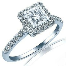 1.01 TCW Radiant Shape Diamond Engagement Ring Raised Halo 18k White Gold - $2,196.81