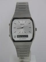 Seiko quartz anadigit silver tone bracelet white case stainless steel SB... - $123.75