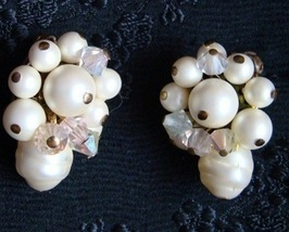 Vintage White Pearl Shell and Crystal Clip On Earrings 1950s - $50.00