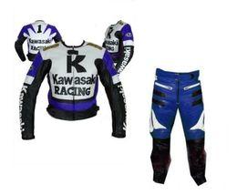 KAWASAKI BLUE MOTORBIKE MOTORCYCLE BIKERS COWHIDE LEATHER ARMOURED 2 PC ... - $339.99