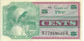 MPC Series 661 5 Cents Military Payment Certificate Banknote #36b Choice - $35.41