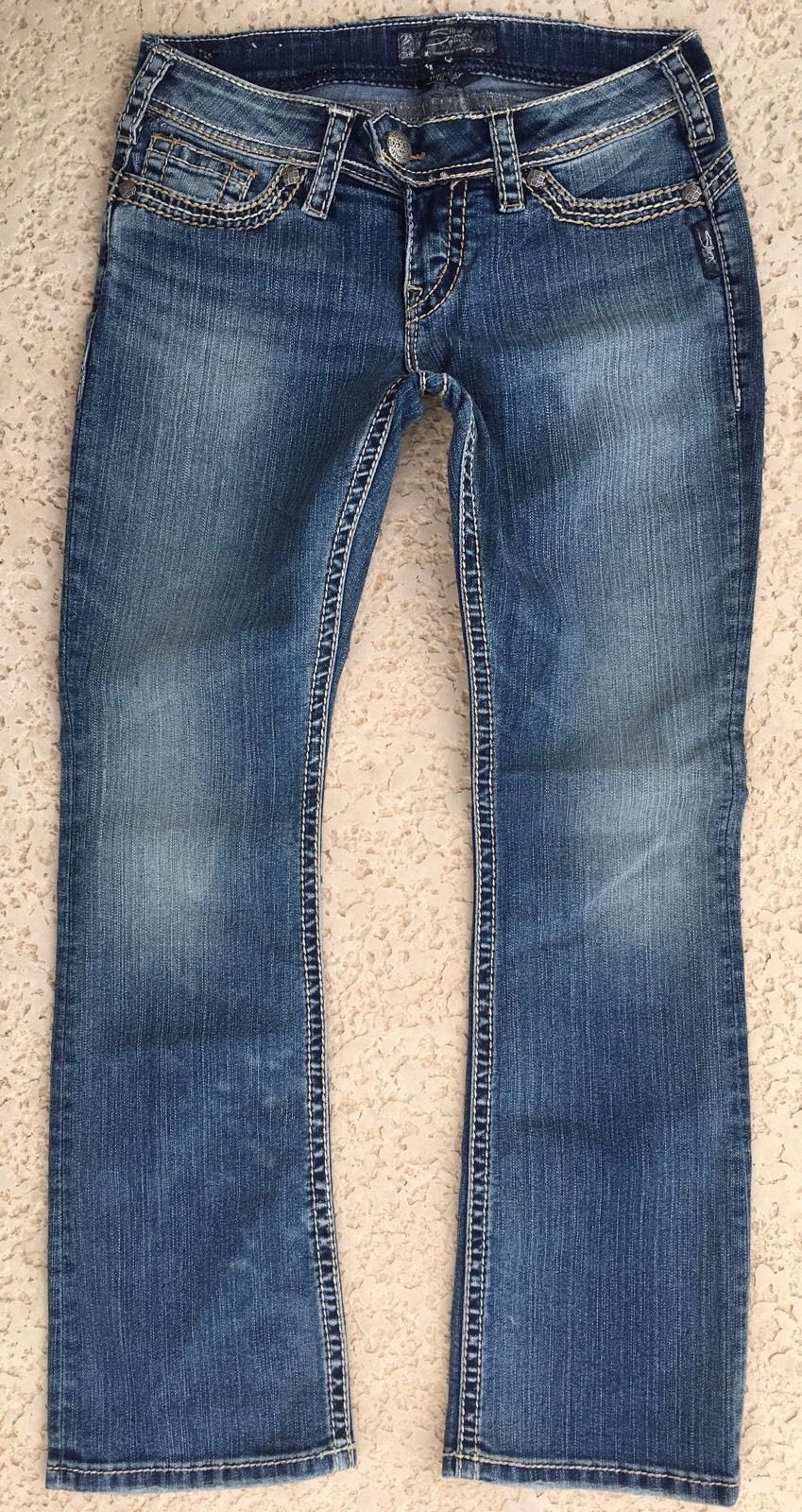 """WOMENS SILVER JEANS Tuesday Slim 16.5"""" Bootcut Stretch Jean PETITE 6PS 6P X 27"""