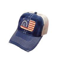 Bennington 76 Revolution Flag Distressed Trucker Baseball Cap Navy - $21.95