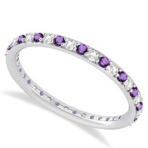 0.57 Ct Round Real Diamond & VVS1 Amethyst 14K Gold Eternity Wedding Ban... - €238,65 EUR