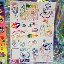 Vintage Lisa Frank BAD GIRL LUV 2 SHOP Rainbow Outline S468 Full Sticker Sheet