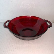"""Vintage Anchor Hocking Coronation Ruby Red Handled Bowl 6 1/2"""" - $10.00"""