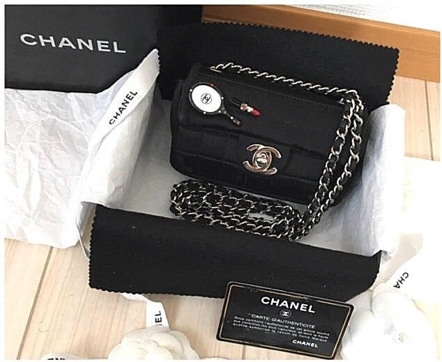 60b199f23f26 100% Authentic CHANEL ExMini Matelasse Chain Shoulder Bag Black Silk Flap  B207 - $1,438.97