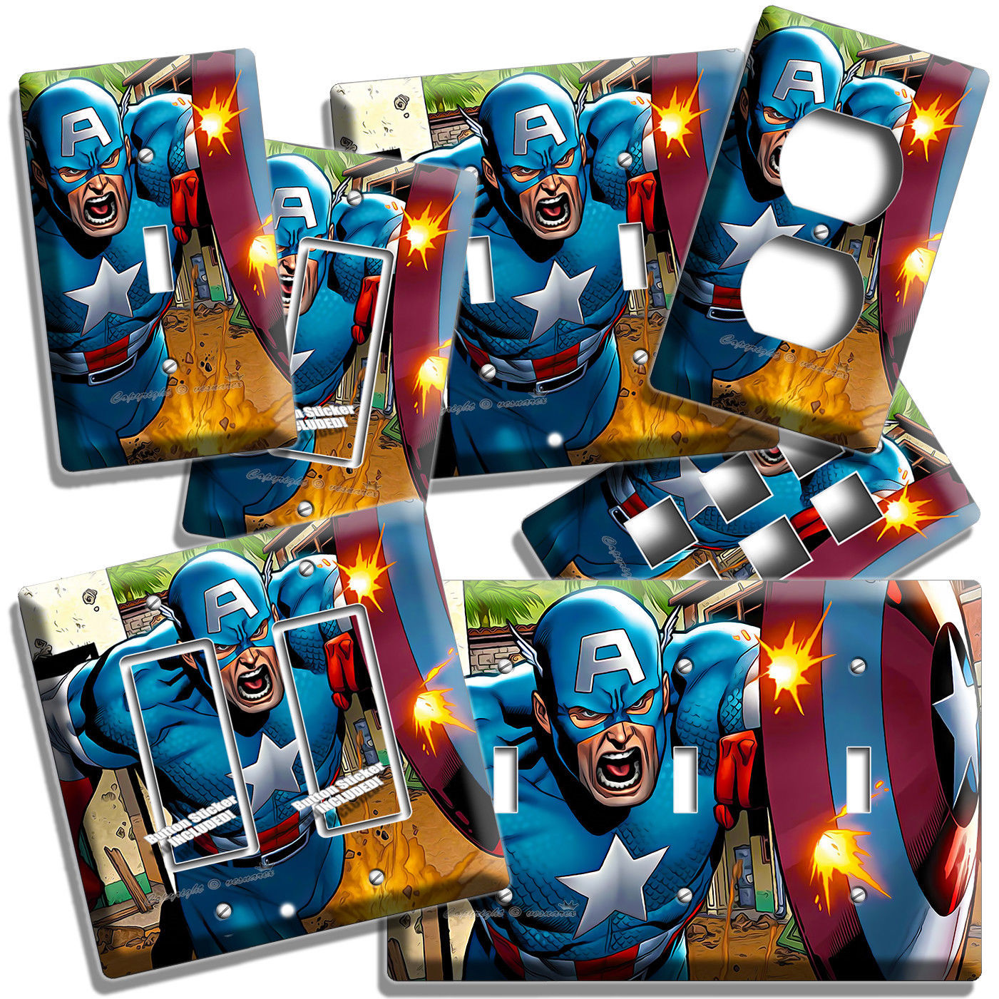 CAPTAIN AMERICA SUPERHERO SHIELD COMICS LIGHT SWITCH OUTLET WALL PLATE ART DECOR