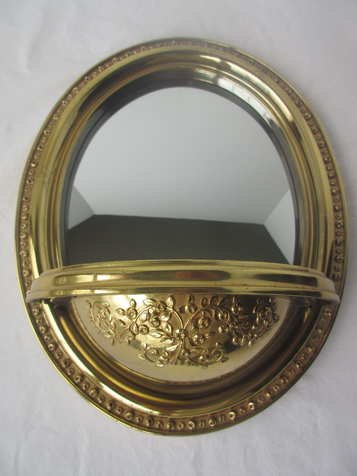 VINTAGE 1984 SYROCO HOMCO HOME INTERIOR GOLD ROSE WALL MIRROR WITH SHELF #2413