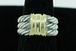 DAVID YURMAN Sterling Silver 14K Yellow Gold 3 Row Thoroughbred Cable Ring (6.5) - $285.00
