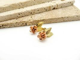 Vintage Krementz Two-Tone Yellow Rose Gold Filled Flower Screw Back Earr... - $16.99
