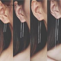 Minimalist Ear Thread Earrings 925-Sterling-Silver Long Chain Earrings f... - $17.70
