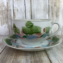 CMC Occupied Japan Tea Cup and Saucer Hand Painted Pink Green Flowers Dr... - $27.99