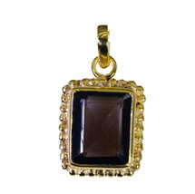 cute Smoky Quartz Gold Plated Brown Pendant genuine regular US gift - $12.86
