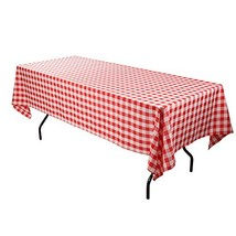 E-TEX Rectangle Tablecloth - 60 x 102 Inch - Red and White Rectangular T... - $15.73