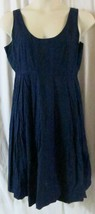 J Crew Dress 14 Sleeveless Knee Length Solid Cotton Blue - $15.15