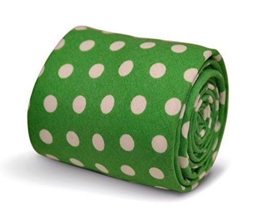Frederick Thomas bright lime green men's polka spot cotton tie