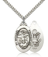 Air Force Medal Pendant - Silver Filled St. Michael medal on a 24 inch - $30.99