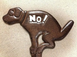 NO DOG POOP YARD SIGN, brown with white no dog pooping allowed iron gard... - $14.84