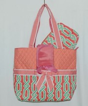 NGIL GUA2121 Quilted Pink Striped Vine Print Coral Green Diaper Bag image 1