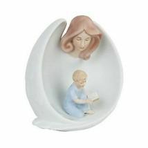 GUARDIAN ANGEL PROTECTING BOY CHILD FINE PORCELAIN STATUE FIGURINE - $25.99