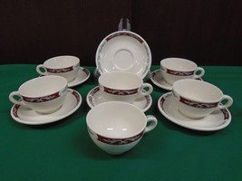 Syracuse Restaurant Ware China EMBASSY Set of 6 Tea Cups & Saucers Red &... - $29.02
