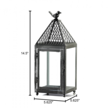 Flight of Fancy Black Bird Medium Size Iron Candle Lantern - $22.34