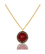 Pave Diamond Pendant Handmade 925 Silver Ruby Gemstone Necklace Jewelry - $86.80