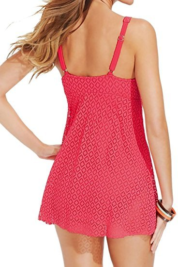 2f0b5ae8a6cd2 Swim Solutions Slimming Tummy Control Coral Crochet Flyaway Swimdress One  Piece. Next. 1
