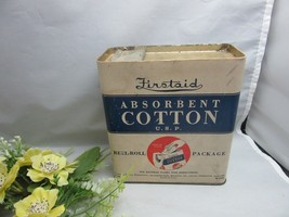 Vtg Firstaid Absorbent Cotton U.S.P. Reel-Roll Package.Rexall Drug store - $24.99