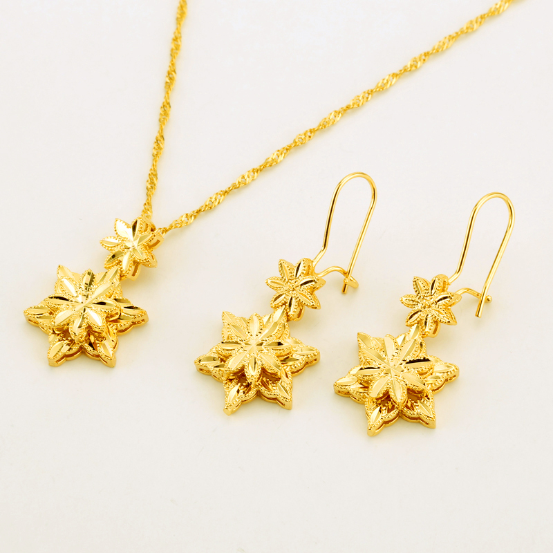 Five-pointed star Jewelry Sets Ethiopian Dubai Wedding Bride Necklace/Pendant/Ea image 3